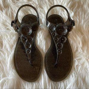 COACH Black Tea Rose Jelly Sandals Size 6 NIB